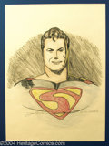 Original Comic Art:Splash Pages, Joe Shuster - Superman Pin Up Original Art (undated). What could bemore super-spectacular than a full color pin up of Super...