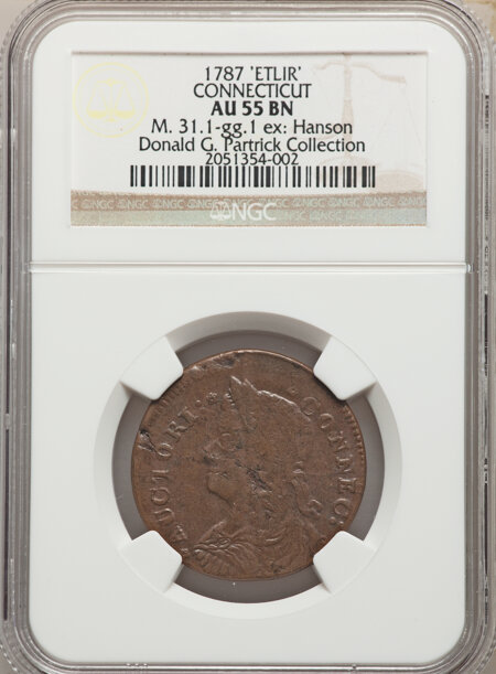 1787 Connecticut Copper, Draped Bust Left, ETLIR, MS, BN 55 NGC