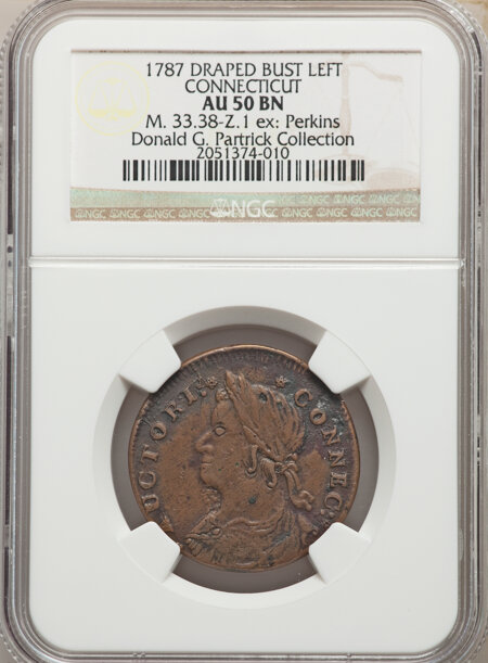 1787 Connecticut Copper, Draped Bust Left, MS, BN 50 NGC