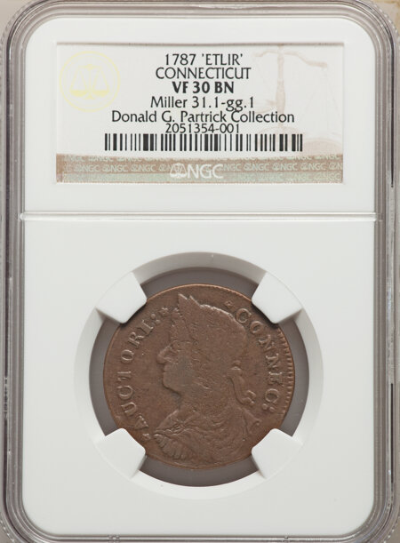 1787 Connecticut Copper, Draped Bust Left, ETLIR, MS, BN 30 NGC