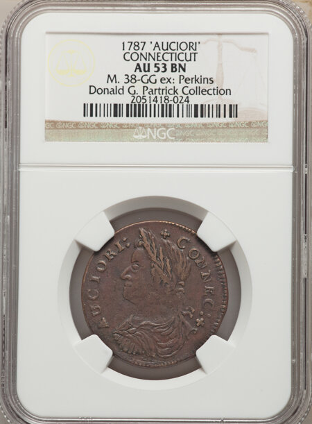 1787 Connecticut Copper, AUCIORI, MS, BN 53 NGC