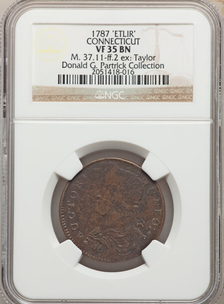 1787 Connecticut Copper, Draped Bust Left, ETLIR, MS, BN 35 NGC