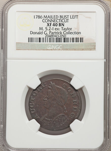 1786 Connecticut Copper, Mailed Bust Left, MS, BN 40 NGC