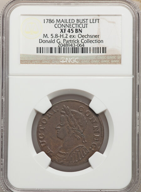 1786 Connecticut Copper, Mailed Bust Left, MS, BN 45 NGC