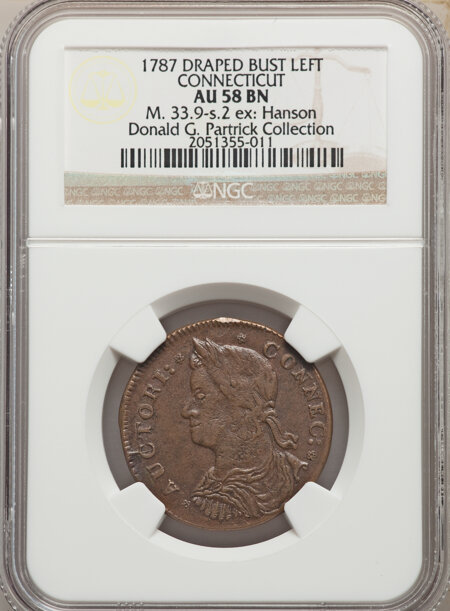 1787 Connecticut Copper, Draped Bust Left, MS, BN 58 NGC