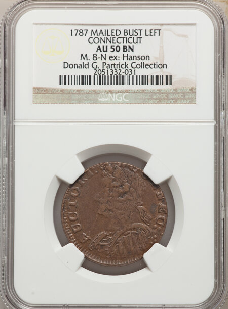 1787 Connecticut Copper, Mailed Bust Left, MS, BN 50 NGC