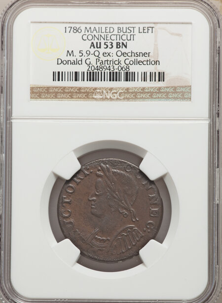 1786 Connecticut Copper, Mailed Bust Left, MS, BN 53 NGC