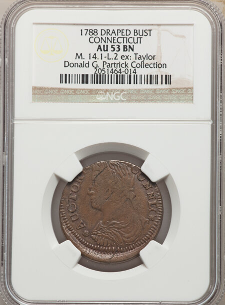 1788 Connecticut Copper, Draped Bust Left, MS, BN 53 NGC