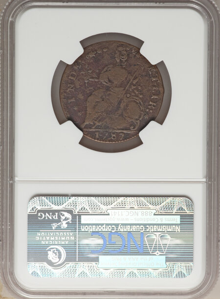 1787 Connecticut Copper, Draped Bust Left, AUCTOBI, MS, BN 12 NGC