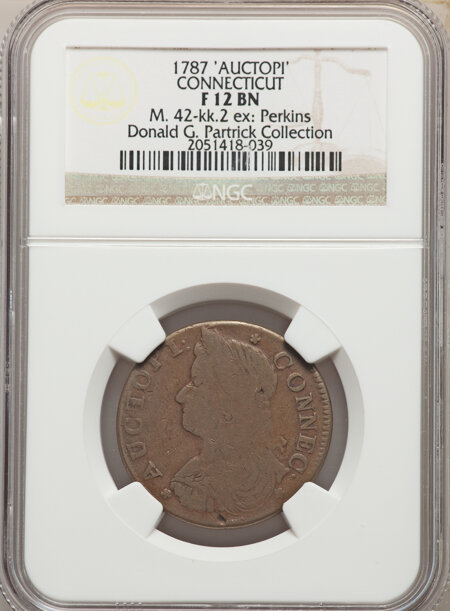 1787 Connecticut Copper, AUCTOPI, MS, BN 12 NGC