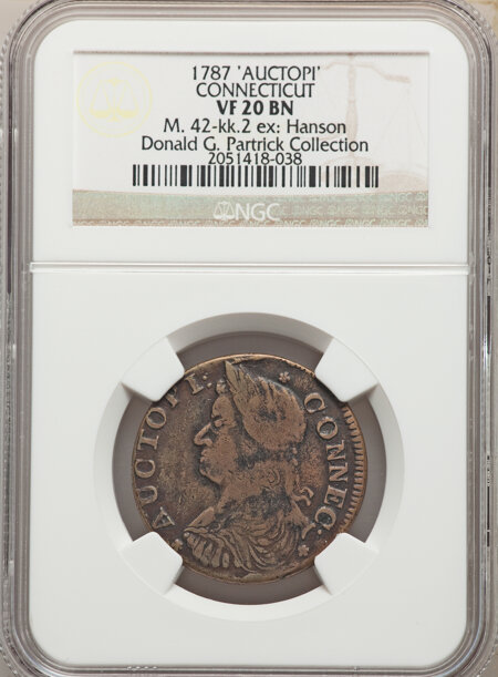 1787 Connecticut Copper, AUCTOPI, MS, BN 20 NGC