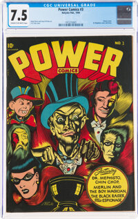 Power Comics #3 (Holyoke Publications, 1944) CGC VF- 7.5 Cream to off-white pages
