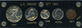 Proof Sets, 1941 Five-Piece Proof Set, Uncertified. Housed in a screw-type Capital holder, this five-piece 1941 proof set is well-matche... (Total: 5 coins)