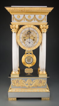 A Large & Important Aubert & Klaftenberger Silver-Plated Brass Portico Regulator Clock with Vari-Color Gilt Moun...