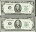 Small Size:Federal Reserve Notes, Fr. 2157-D $100 1950 Federal Reserve Notes. Two Consecutive Examples. Choice Crisp Uncirculated.. ... (Total: 2 notes)