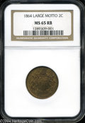 Two Cent Pieces: , 1864 Large Motto MS65 Red and Brown NGC. ...