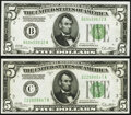 Small Size:Federal Reserve Notes, Fr. 1952-B; C $5 1928B Dark Green Seal Federal Reserve Notes. Choice Crisp Uncirculated.. ... (Total: 2 notes)