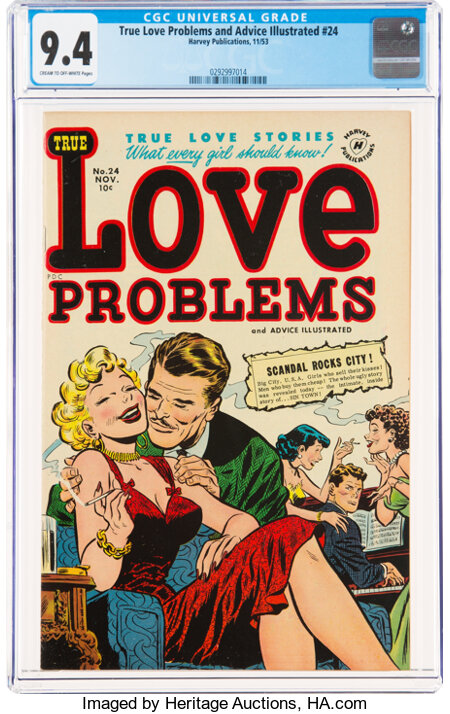 True Love Problems and Advice Illustrated #24 (Harvey, 1953) CGC NM 9.4 Cream to off-white pages....