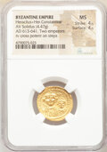 Ancients:Byzantine, Ancients: Heraclius (AD 610-641), and Heraclius Constantine. AV solidus (20mm, 4.47 gm, 7h). NGC MS 4/5 - 4/5. ...