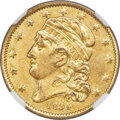 Early Half Eagles, 1834 $5 With Motto, Crosslet 4, BD-2, R.5 -- Damaged -- NGC Details. AU....