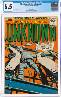 Adventures Into The Unknown #67 (ACG, 1955) CGC FN+ 6.5 Off-white pages
