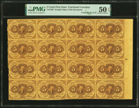Fr. 1230 5¢ First Issue Uncut Block of Sixteen PMG About Uncirculated 50 EPQ
