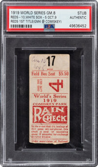 1919 World Series (Game 8) Ticket Stub, PSA Authentic- One of Only Two Exemplars in PSA Population!
