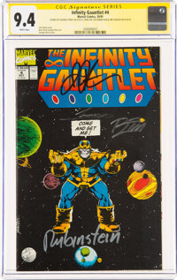 The Infinity Gauntlet #4 Signature Series: George Perez and Others (Marvel, 1991) CGC NM 9.4 White pages