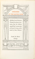 Books:Mystery & Detective Fiction, Robert Louis Stevenson. Diogenes at the Saville Club. Printed for private circulation from the hitherto unpublishe...