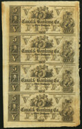 Obsoletes By State:Louisiana, New Orleans, LA- Canal & Banking Co. $5-$5-$5-$5 18__ Uncut Sheet Choice About Uncirculated.. ...