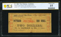 Obsoletes By State:Louisiana, New Orleans, LA- Patterson Iron Works/Jackson & Co. $2 Jan. 16, 1862 PCGS Banknote Choice Fine 15, hoc.. ...