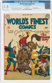 World's Finest Comics #42 (DC, 1949) CGC VF- 7.5 White pages