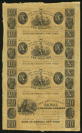 Obsoletes By State:Louisiana, New Orleans, LA- New Orleans Canal & Banking Company $10-$10-$10-$20 18__ Uncut Sheet Choice Crisp Uncirculated.. ...