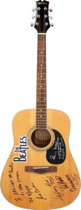 Music Memorabilia:Autographs and Signed Items, The Beatles Friends Acoustic Guitar Signed by Sid Bernstein, Pete Best, Andy White, Len Garry, Rod Davis & Colin Hanton. ...