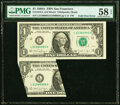 Major Foldover Error Fr. 1916-L $1 1988A Federal Reserve Note. PMG Choice About Unc 58 EPQ