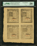 Colonial Notes:Delaware, Delaware January 1, 1776 5s-6s-4s-10s Uncut Sheet PMG Choice About Unc 58.. ...