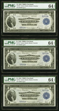 Fr. 718 $1 1918 Federal Reserve Bank Notes. Three Consecutive Examples. PMG Choice Uncirculated 64 EPQ. ... (Total: 3 no...