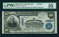National Bank Notes:Pennsylvania, Ridley Park, PA - $10 1902 Plain Back Fr. 632 The Ridley Park National Bank Ch. # 10847 PMG About Uncirculated 55.. ...