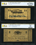 Obsoletes By State:Louisiana, Pointe Coupee, LA- Police Jury of the Parish of Point Coupee 25¢ Mar. 24, 1862. PCGS Banknote Choice Unc 64PPQ;. Point... (Total: 2 notes)