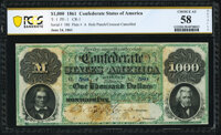 T1 $1,000 1861 PF-1 Cr. 1 PCGS Banknote Choice About Unc 58 Details