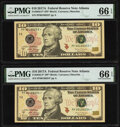 Small Size:Federal Reserve Notes, Fr. 2045-F* $10 2017A Federal Reserve Star Notes. Two Consecutive Examples. PMG Gem Uncirculated 66 EPQ.. ... (Total: 2 notes)