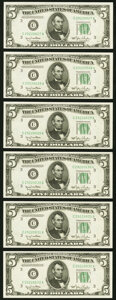 Small Size:Federal Reserve Notes, Fr. 1961-C $5 1950 Narrow Federal Reserve Notes. Six Consecutive Examples. Choice Crisp Uncirculated.. ... (Total: 6 notes)