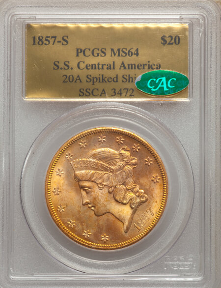 1857-S $20 Spike Shld CAC 64 PCGS