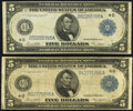 Large Size:Federal Reserve Notes, Fr. 859a $5 1914 Federal Reserve Notes Two Examples Fine or Better.. ... (Total: 2 notes)