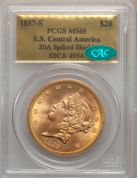 1857-S $20 Spike Shld CAC 65 PCGS