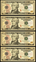 Small Size:Federal Reserve Notes, Four Fancy Serial Number Fr. 2045-J $10 2017A Federal Reserve Notes. Choice Crisp Uncirculated or Better .. 00060060;. ... (Total: 4 notes)