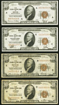 Fr. 1860-A; C; E; G $10 1929 Federal Reserve Bank Notes. Fine-Very Fine or Better