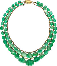 Emerald, Gold, Gold-Plated Necklace, Julius Cohen