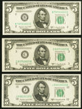 Small Size:Federal Reserve Notes, Fr. 1964-B; C; J $5 1950C Federal Reserve Notes. Choice Crisp Uncirculated.. ... (Total: 3 notes)