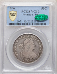 1806 50C Pointed 6, Stem, VG10 PCGS. CAC. PCGS Population: (88/1266 and 0/6+). NGC Census: (61/898 and 0/2+). CDN: $260...